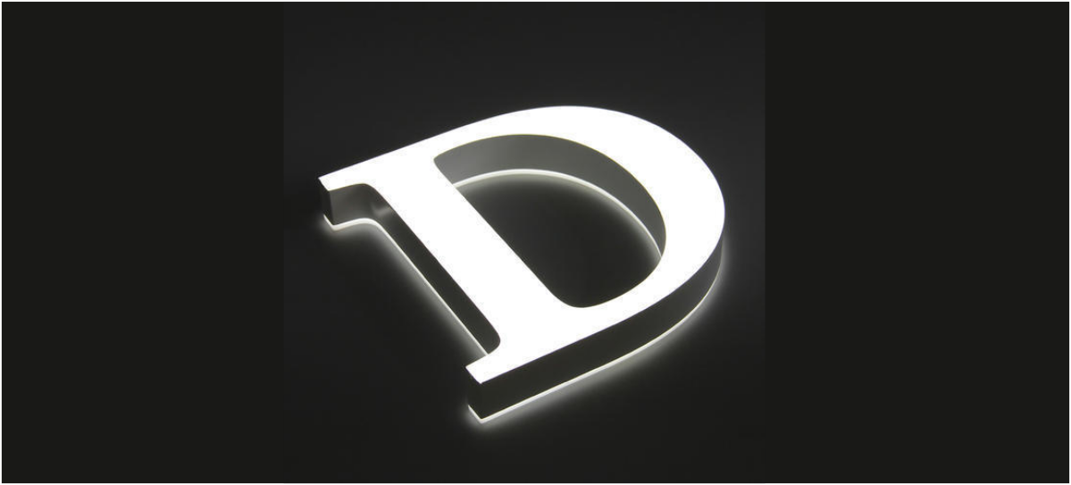 D front and backlit gevel reclame letter